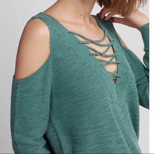 Express Two Way Lace Up V Neck Sweater